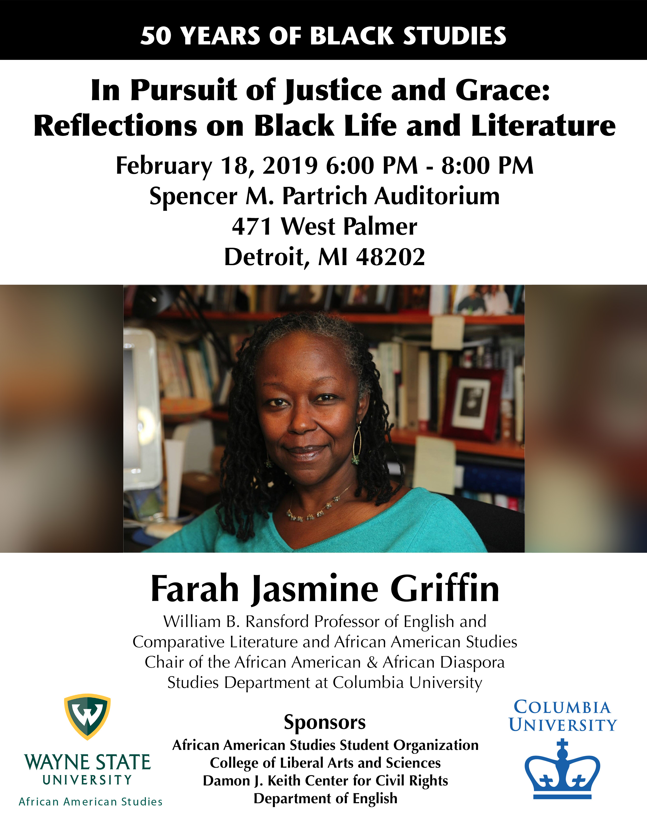 Flyer for Farah Griffin event, with portrait of the professor and event details.