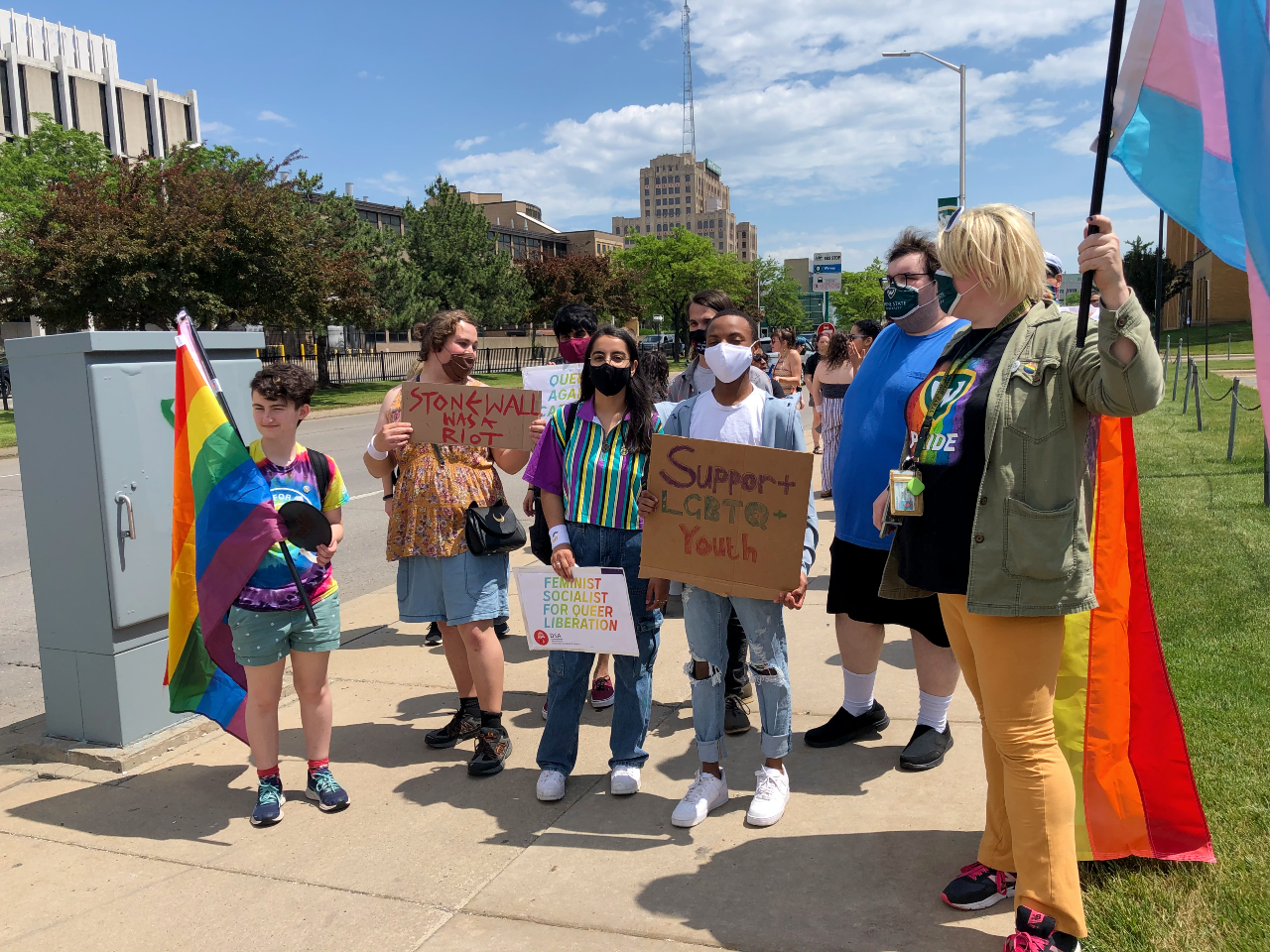 Students and staff march at the Stride for Pride walk on campus - June 2021